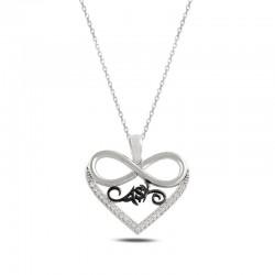 Sonsuzluk Aşk Yazılı Gümüş Kolye