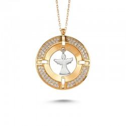 Madalyon Melek Figürlü Gümüş Kolye