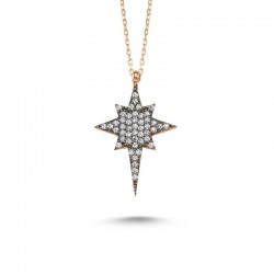 Zirkon Taşlı Kutup Yıldızı Gümüş Kolye